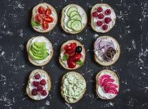 Variation av smörgåsar - smörgåsar med ost, tomater, ansjovisar, grillade peppar, hallon, avokado, bönapate, gurka, nolla Royaltyfri Foto