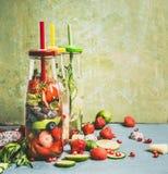 Variation av smakligt ingett vatten i flaskor med drinksugrör och ingredienser, främre sikt Vatten som smaksättas med frukter, bä royaltyfri fotografi