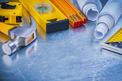 Variation of building working tools on metallic Royalty Free Stock Photo