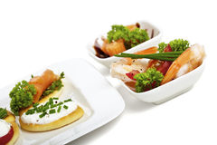 Variation of canapes and starters Royalty Free Stock Image