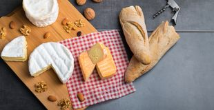 Variation of cheese and wine and bread Royalty Free Stock Images