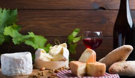 Variation of cheese and wine and bread Stock Photos