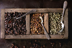 Variation of coffee beans. Green and brown decaf unroasted and black roasted coffee beans in old wooden box with vintage spoons over dark brown textured royalty free stock photography