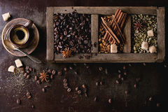Variation of coffee beans. Green and brown decaf unroasted and black roasted coffee beans with spices and sugar in old wooden box, and ceramic cup of fresh stock image