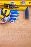 Variation of construction tools on wooden brown Stock Photography