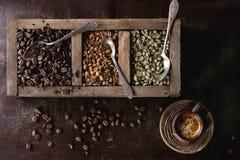Variation des grains de café Images libres de droits