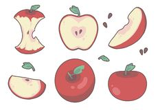 Variation of different drawn cartoon style red apple fruit, including slices, cores and halves royalty free illustration