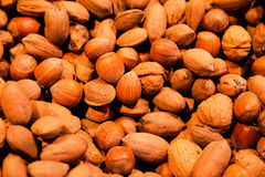 Variation of different nuts on market Royalty Free Stock Photography