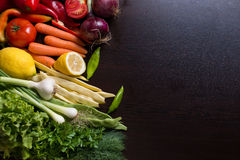 Variation of different vegetables and spices, space on the side Stock Images