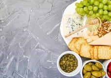 Variation för ostplatta och vin i exponeringsglas arkivfoto