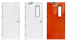 Variation of fire exit door in condominium or apartment for emergency fire alarm. Isolate on white stock photography