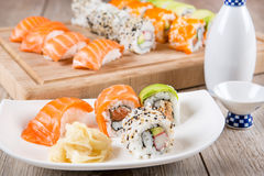 Variation of fresh tasty sushi rolls Stock Photos