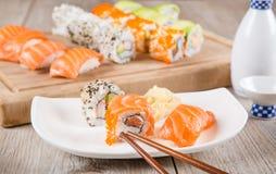 Variation of fresh tasty sushi rolls Royalty Free Stock Photos