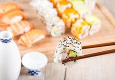 Variation of fresh tasty sushi rolls Stock Photography