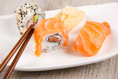 Variation of fresh tasty sushi rolls Stock Image