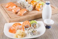 Variation of fresh tasty sushi rolls Royalty Free Stock Images