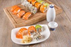 Variation of fresh tasty sushi rolls Royalty Free Stock Photo