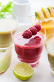 Variation of fruit and vegetable smoothies Royalty Free Stock Photos