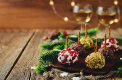 Variation of goat cheese balls appetizer with pistachio, pomegra Royalty Free Stock Photo