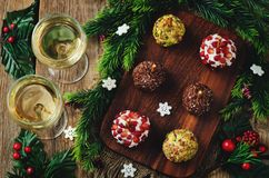 Variation of goat cheese balls appetizer with pistachio, pomegra Royalty Free Stock Photos