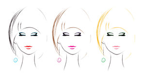 Woman hairstyle set. Variation of hairstyle (vector sketch Stock Images