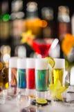 Variation of hard alcoholic shots on bar counter Royalty Free Stock Image