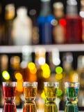 Variation of hard alcoholic shots on bar counter Stock Photo