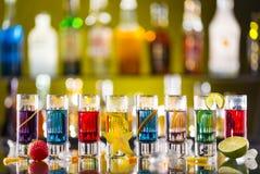 Variation of hard alcoholic shots on bar counter Royalty Free Stock Photography