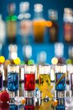 Variation of hard alcoholic shots on bar counter Stock Images