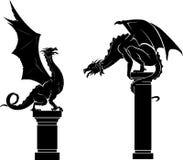 Dragon on Pedestal Set. Variation of mythical beast on pedestal or column. medieval creatures concept Royalty Free Stock Images