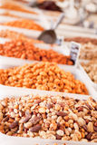 Variation of nuts on market outdoor in summer Stock Images