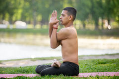 Variation of Padmasana in park Stock Photography