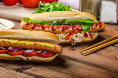 Variation on the red hot dogs Stock Photo