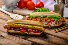 Variation on the red hot dogs Royalty Free Stock Images