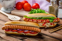 Variation on the red hot dogs Royalty Free Stock Photo