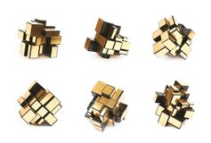Variation of a puzzle cube. Variation of a single-color puzzle cube over the white background , set of several different foreshortenings stock photos