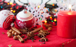 Variation of spices and Christmas decorations Stock Photography