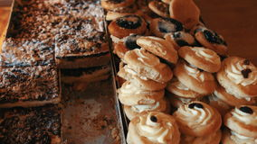 Variation of sweet food in bakery shop stock footage