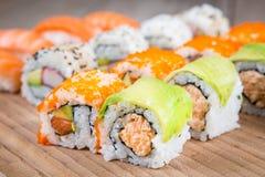 Variation of  tasty sushi rolls Stock Photography