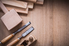 Variation of wooden joiner's working tools on Royalty Free Stock Images
