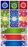 Variation of xmas labels with paper snowflakes Stock Images