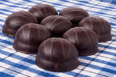 Variations of chocolated sweet pralines Stock Photo