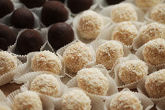 Variations of chocolated sweet pralines close up Royalty Free Stock Photos