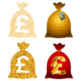 Variations Currency sack Pound GBP Stock Photography