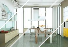 Variations de couleur de Splitted d'une cuisine moderne avec une belle conception Images libres de droits