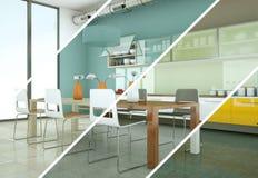 Variations de couleur de Splitted d'une cuisine moderne avec une belle conception Photographie stock
