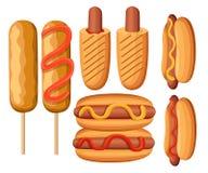 Variations de hot-dog Saucisse, bratwurst et d'autres illustrations de collec coloré d'icônes de menu de restaurant d'aliments de illustration stock