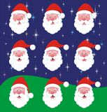 Santa Claus Mood Variations. 9 variations of face expression of Santa Claus, isolated on a color background. See more Santa Claus in my portfolio Royalty Free Stock Photos