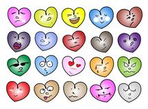 Variations Heart Icons. Love Concepts, An Illustration Set of Multi Colors Heart Icons & Symbols with Different Facial Emotions Isolated on A White Background Stock Photos