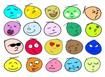 Variations Human Face Icons. An Illustration Multi Colors of Different Facial Emotions Icon Set Isolated on A White Background Stock Images